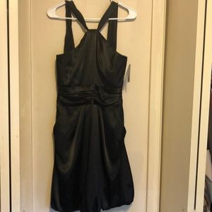 NEW DAVIDS BRIDAL Y NECK BLACK DRESS SIZE 8